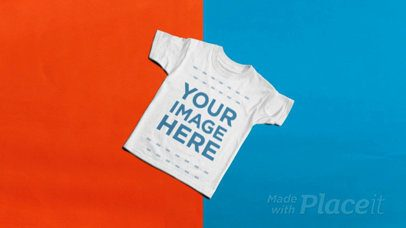 T-Shirt Stop Motion Spinning Over a Blue and Red Background a13223