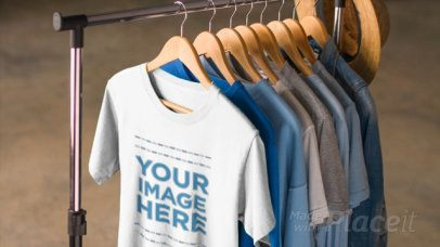 T-Shirt Video Hanging on a Clothing Rack with other Tees a13085