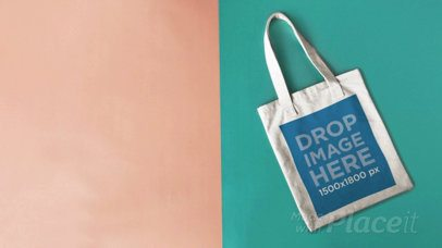 Stop Motion Tote Bag Moving on a Pink And Green Background a13668