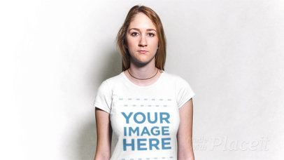 Young Blonde Girl Wearing a Necklace and a T-Shirt in Stop Motion a13305