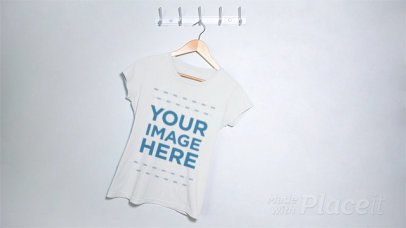 Round Neck Tee Stop Motion Swinging From Side to Side on a Hanger a13277