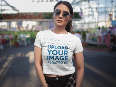 Front Shot of a Beautiful Woman Wearing a Crop Top Tee Mockup a19427
