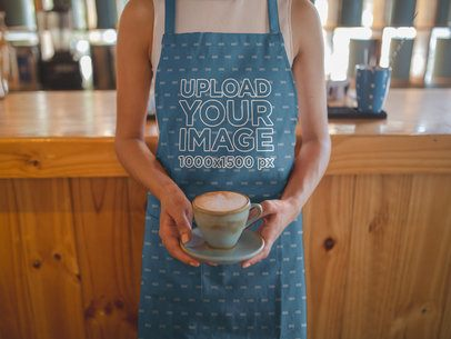 Cropped Face Mockup of a  Woman Wearing an Apron Serving Coffee a19802
