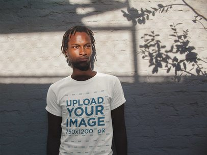 T-Shirt Mockup of a Man with Sun Rays on His Face a20104