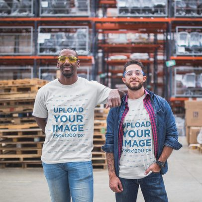 Warehouse Workers Wearing T-Shirts Mockup  a20388