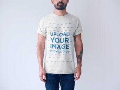 Generic T-Shirt Mockup of a Tattooed Man a20738