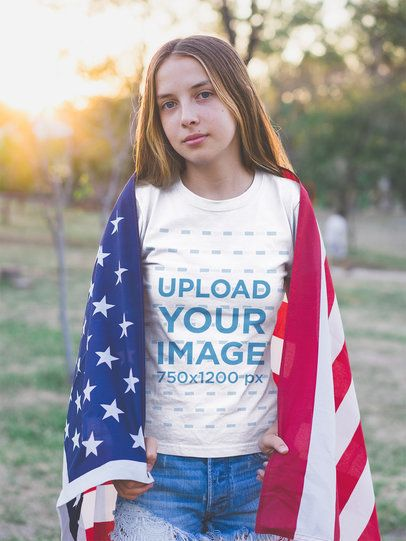 Girl with the American Flag on her Back Wearing a T-Shirt Mockup  a20709