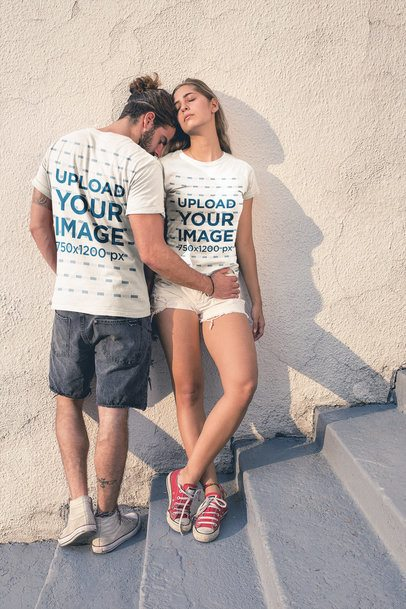 Loving Couple Wearing Round Neck Tees Mockup During the Afternoon a20587