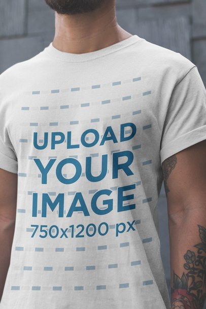 T-Shirt Mockup of a Closeup of a Man with a Beard and Tattoos 20901a
