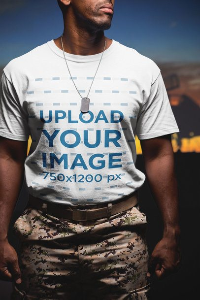 Closeup of a Veteran Soldier Wearing a T-Shirt Mockup a20927