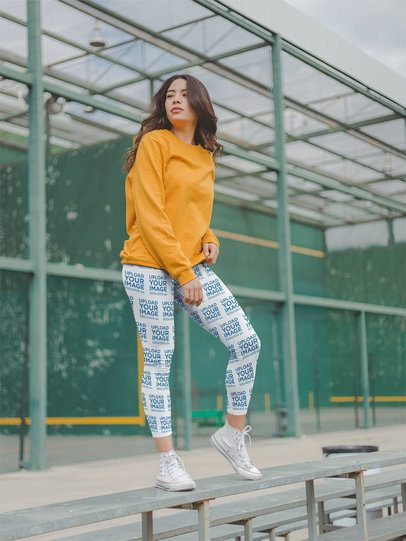 Leggings Mockup of an Edgy Woman Posing at a Sports Court 19041a