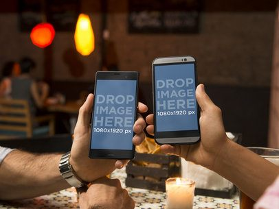 Android Mockup Template of Couple at Restaurant