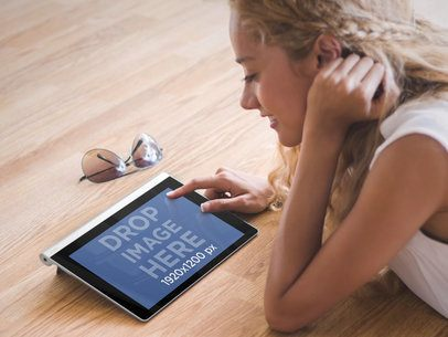 Android Mockup of Blonde Girl Using Lenovo Tablet