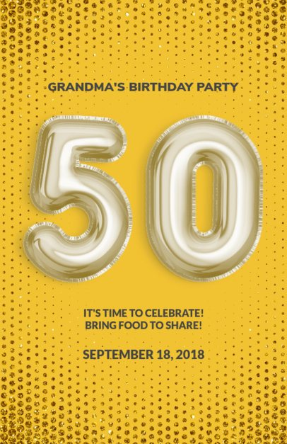 Flyer Maker for Birthday Parties with Yellow Theme 225e