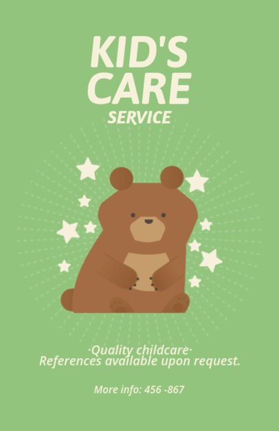 Online Flyer Maker for Nanny Services with Bear Icon 349e