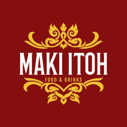 Logo Templates for Thai Food with Thai Patterns 1220c