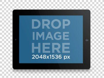 Tablet Mockup of Black iPad in Landscape Position Over Clear Background