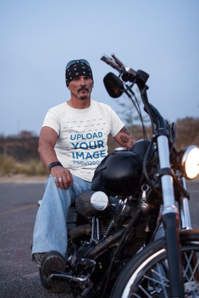 T-Shirt Mockup Featuring a Serious Biker Man On His Motorcycle  20219