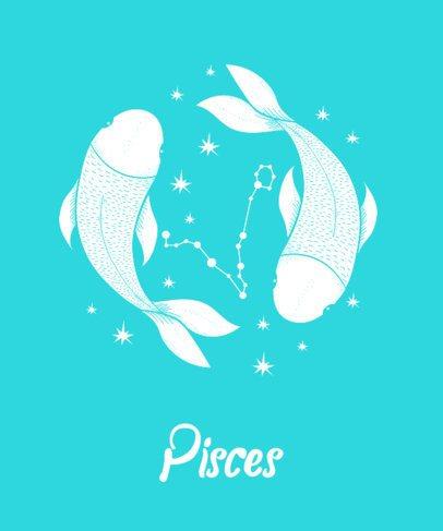 T-Shirt Design Template for Pisces 263b