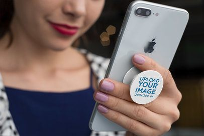 Phone Grip  Mockup of a Woman Smiling at Her Phone 22154