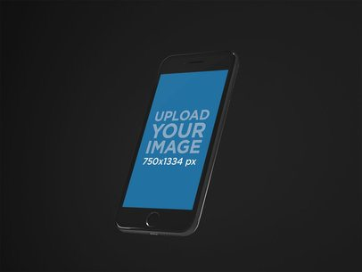 iPhone 8 Mockup Over a Black Background 22274