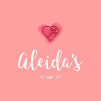 Gift Shop Logo Template with Heart Graphics 1394b