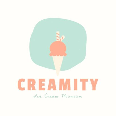 Ice Cream Shop Logo Template with Minimalist Illustrations 1399