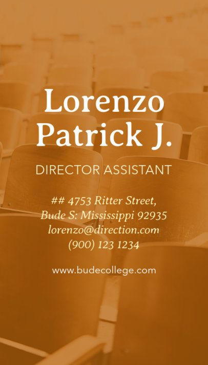 Vertical Business Card Maker for School Director Assistant 573c
