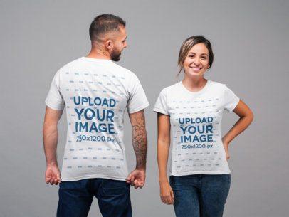 Back and Front View Tee Mockup of a Man Staring at Woman Facing the Camera 22347