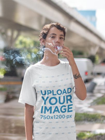 T-Shirt Mockup of a Woman With Cigarette Smoke Surrounding Her Face 22739