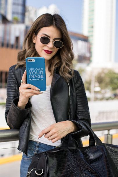 Mockup of a Phone Case with a Woman Wearing Red Lipstick 22900