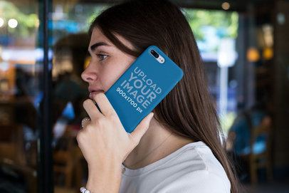 Phone Case Mockup of a Girl Talking on the Phone 22880
