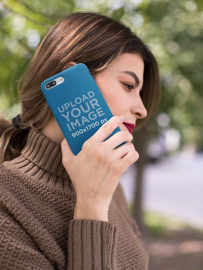 Mockup of an iPhone Held up to a Woman's Ear 22911