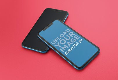 Mockup of a Blue iPhone XR on Top of Another iPhone Over a Solid Surface 23128