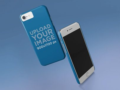 Mockup of a Phone Case Displayed on Two iPhones 23154