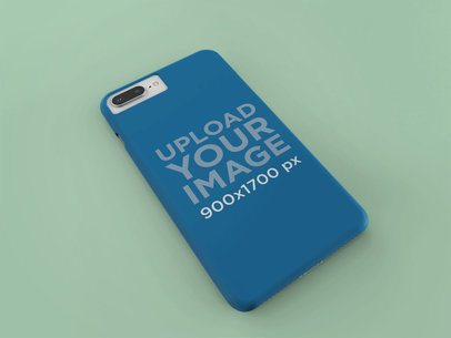Mockup of an iPhone Case Resting Over a Solid Surface 23157