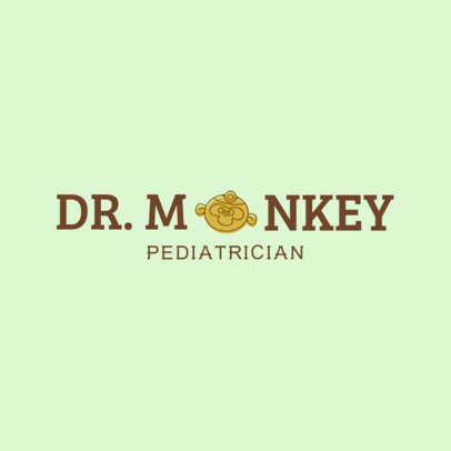 Pediatric Logo Maker with a Funny Monkey Clipart 1534b
