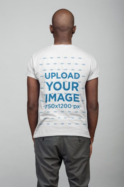 T-Shirt Mockup Featuring the Back View of a Man 21671