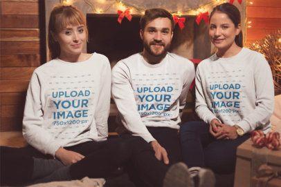 Mockup of 3 Friends Wearing Sweatshirts on Christmas 18052