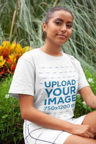 T-Shirt Mockup of a Woman Outdoors 22794