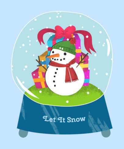 Christmas T-Shirt Design Template with Snow Globe Graphics 833c