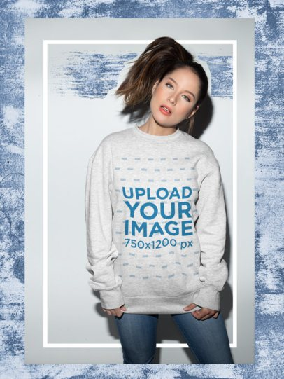 Framed Sweatshirt Mockup of a Girl Tilting her Head 18653