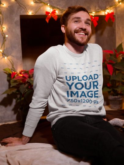 Ugly Xmas Sweater Mockup Featuring a Smiling Man Celebrating the Holidays 18053