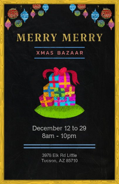 X-Mas Bazaar Flyer Template with Christmas Gift Boxes 863c