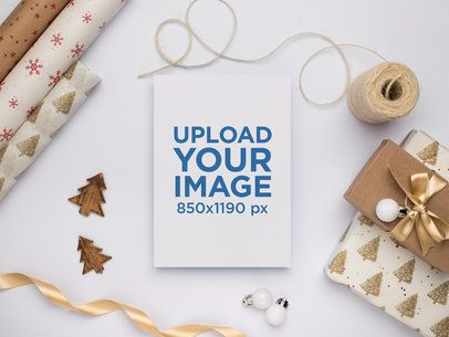 Classy Christmas Greeting Card Mockup with Ornaments 23817