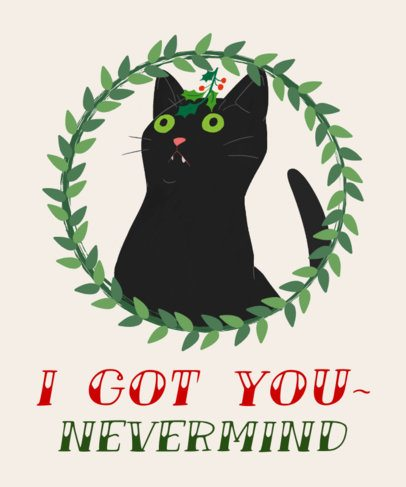 Christmas T-Shirt Design Template with Cats 828b