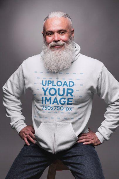 Full Zip Hoodie Mockup Featuring a Smiling Muscular Senior Man 23369