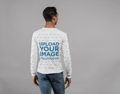 Back View Mockup Featuring a Man Wearing a Long Sleeve Tee in a Photo Studio 23320