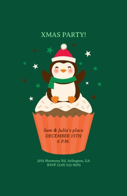 Christmas Party Flyer Template with Penguin Illustration 840d
