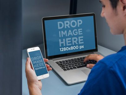 iPhone 6 and Macbook Pro Mockup at an Office Cubicle a4636
